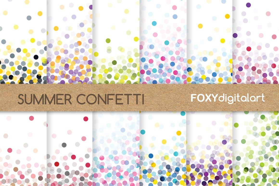 Confetti Digital Paper Scrapbook Graphic Patterns Creative Market