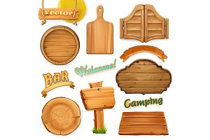 Wooden sign set. 3d vector