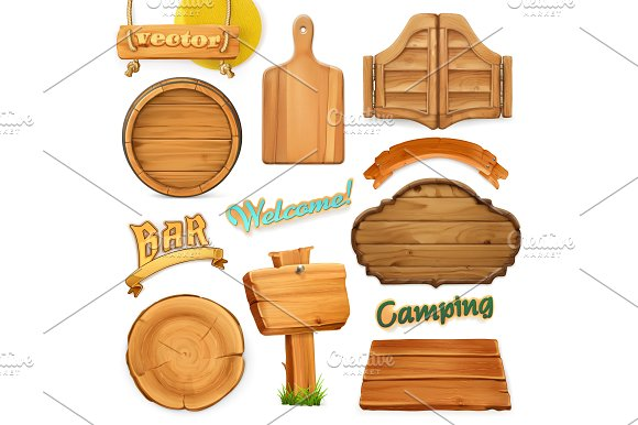 Wooden sign set. 3d vector - Illustrations