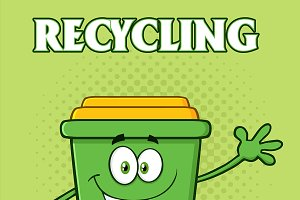 Green Recycle Bin Cartoon Character