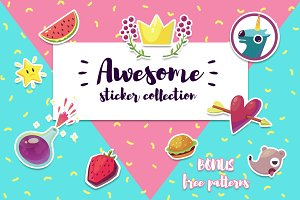 Awesome vector sticker pack + bonus