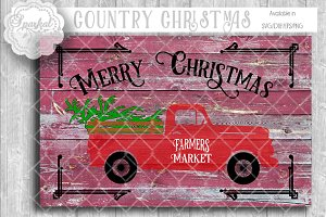 Vintage Chevy Pickup Christmas SVG