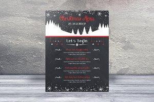 Chalkboard Christmas Menu Card -V430