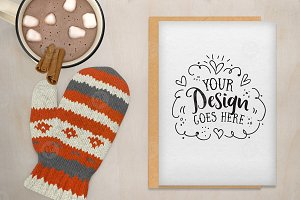 Christmas Card Mockup with hot cocoa