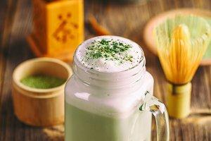 Delicious of green tea frappe