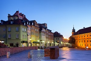 Dawn in Warsaw Old Town