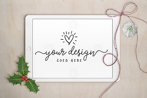 Christmas Holly iPad mockup