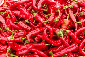 Red hot peppers on display