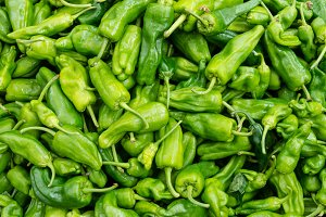 Padron peppers in a bulk display