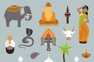 India landmark travel vector icons