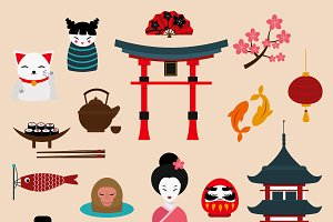 Japan landmark travel vector icons