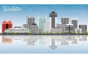 Wichita Skyline with Gray Buildings