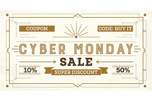 Cyber Monday Sale Retro Background