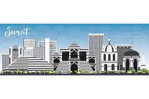 Surat Skyline with Gray Buildings
