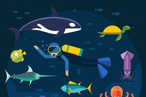 Scuba diving with fishes vector
