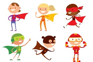 Superhero kids boys and girls vector