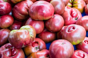 Tomatoes purple at the market