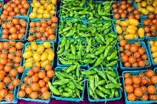 Peppers and tomatoes at the market