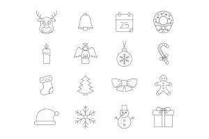 Christmas thin line icons