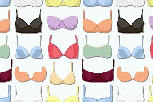 Bra icons set pattern