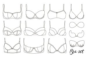 Bra icons set