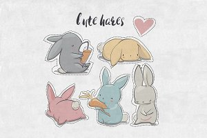 5 cute hares