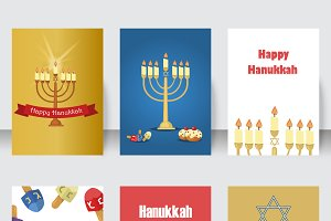 Hanukkah holiday cards set vector.