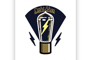 Color vintage lighting shop emblem