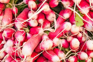 Radishes on display at the market