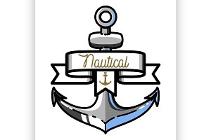 Color vintage nautical emblem
