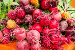 Fresh picked beets at the market