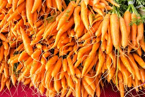 Fresh orange carrots at the market