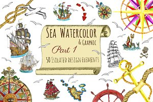 Sea watercolor and graphic elements