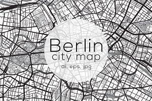 Berlin city map mono