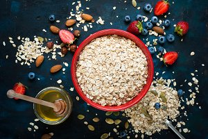 Ingredients for granola or oatmeal.