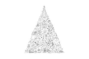 Christmas Tree. Hand drawn elements