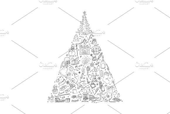 Christmas Tree. Hand drawn elements - Illustrations
