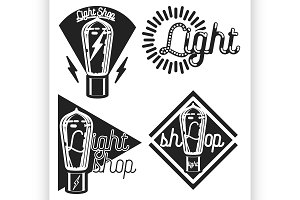 Vintage lighting shop emblems