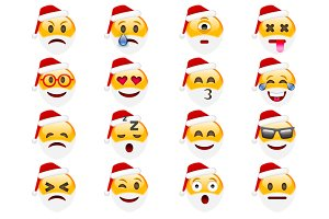 Set of Santa Smile Emoticons