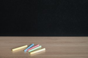 Chalks on classroom table