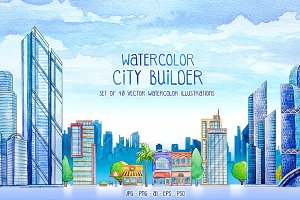 City Builder. Watercolor.