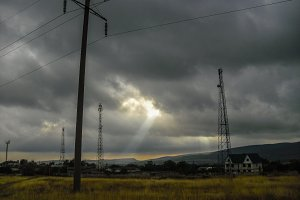 Electric pole and radio tower sunray