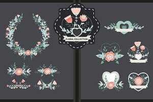 Hand drawn floral vector set