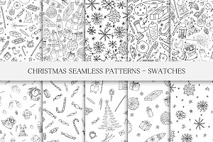 Christmas seamless patterns.