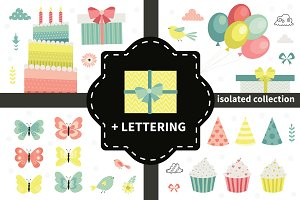 Cute birthday vector collection