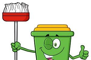 Winking Green Recycle Bin