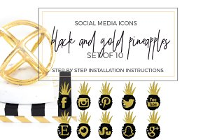 Pineapples Black & Gold Social Icons