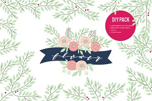 HAND DRAWN VECTOR FLOWER & RIBBON
