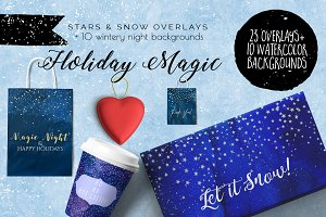 Holiday Magic overlays & backgrounds