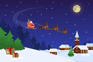 Santa with deers above village. EPS